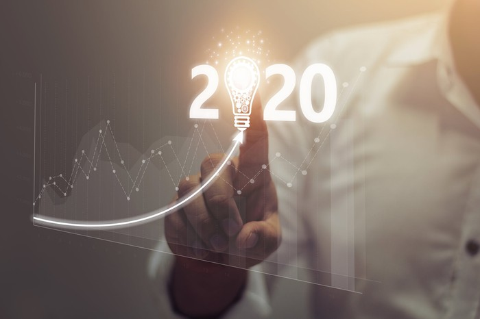 """A chart and a person touching a light bulb in the middle of numbers reading """"2020."""""""