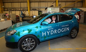 Boris Johnson in a hydrogen-fuelled prototype car at the University of Sunderland in January.