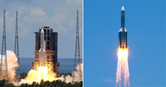 HAINAN, CHINA - JULY 23, 2020: The Chang Zheng 5 (Long March 5) carrier rocket with the Tianwen-1 Mars rover is launched from the Wenchang Space Launch Center for China's first Mars mission. Roman Balandin/TASS (Photo by Roman Balandin\TASS via Getty Images)