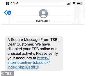 This message purporting to be from TSB includes a typo, with the word 'to' missing, and includes a phishing link