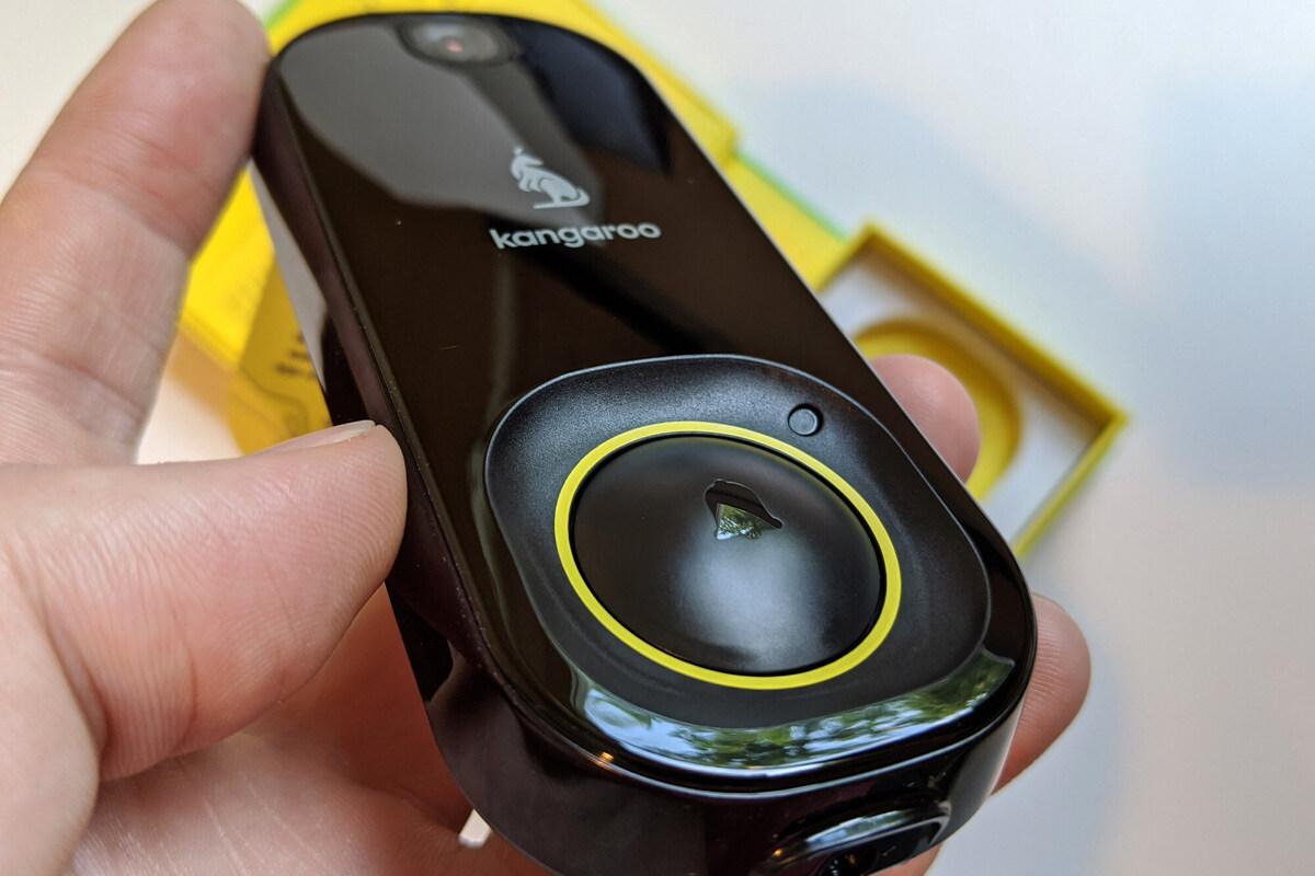 kangaroo doorbell camera in hand