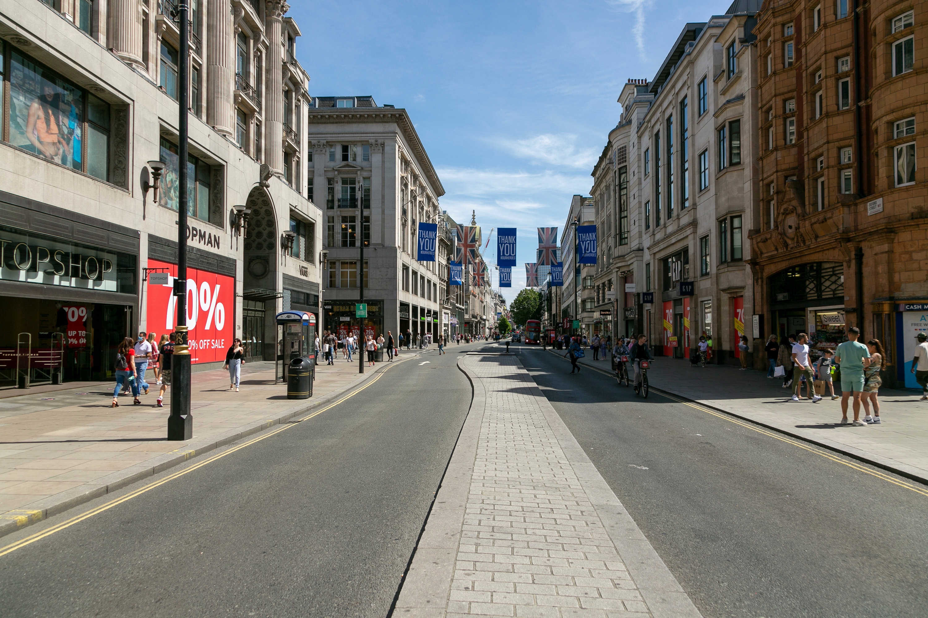Retailers are urging shoppers to return to famous shopping areas