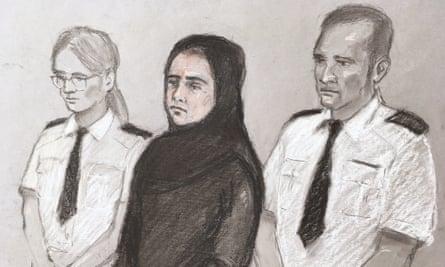 Court artist sketch of Safiyya Amira Shaikh.