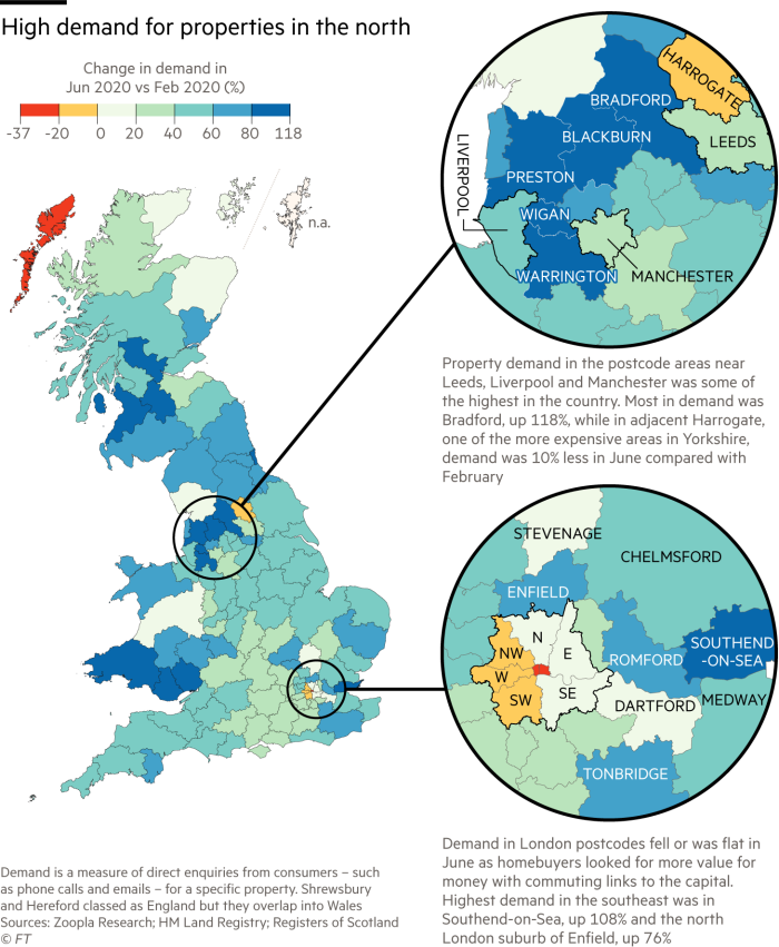 Map showing there is high demand for properties in the north of UK