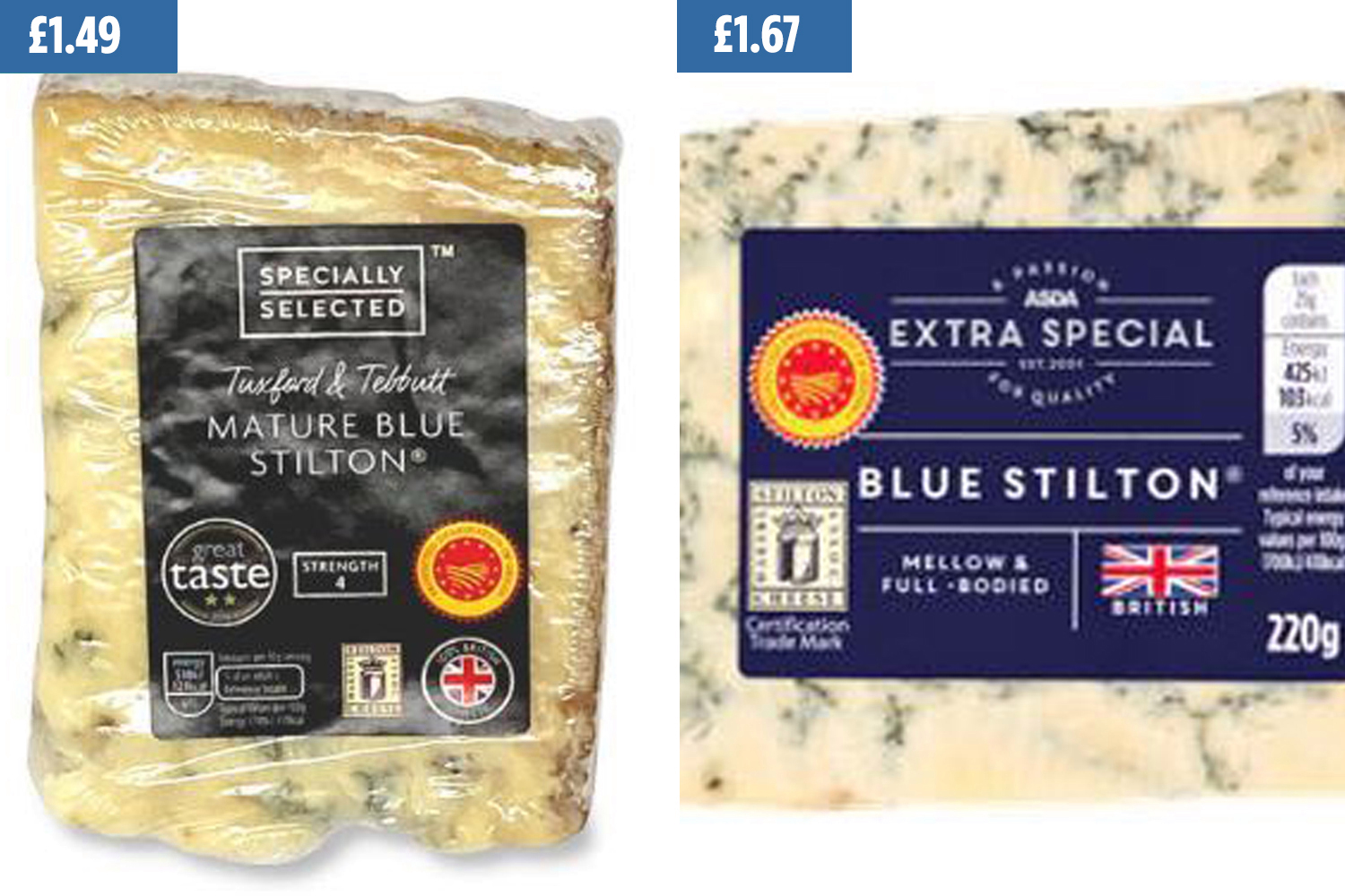 Aldi has priced its Mature Blue Stilton (right) at £1.49 while Asda charges £1.67 (right)