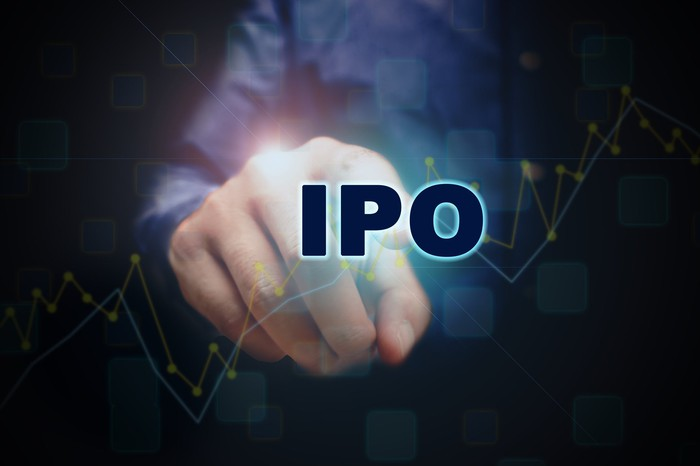 A person is pointing to the word IPO.
