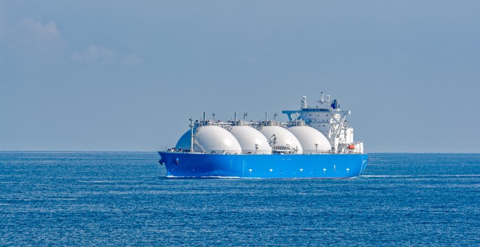 Ship transporting LNG through Asian waters.