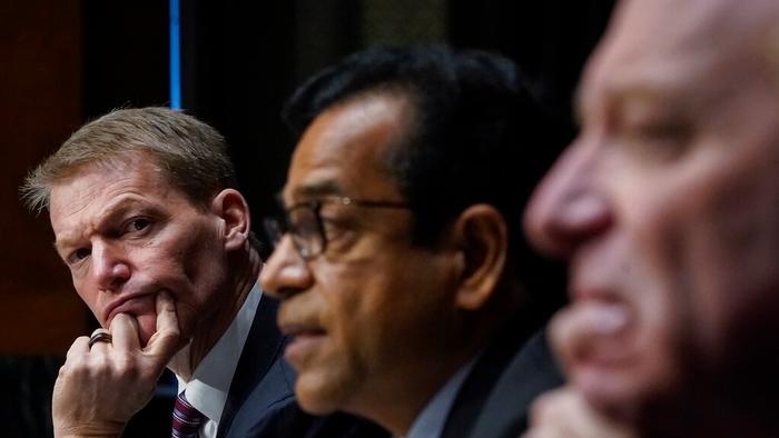 FireEye CEO Kevin Mandia, SolarWinds CEO Sudhakar Ramakrishna and Microsoft President Brad Smith testify during a Senate Intelligence Committee hearing on Capitol Hill on Tuesday, Feb. 23, 2021 in Washington.