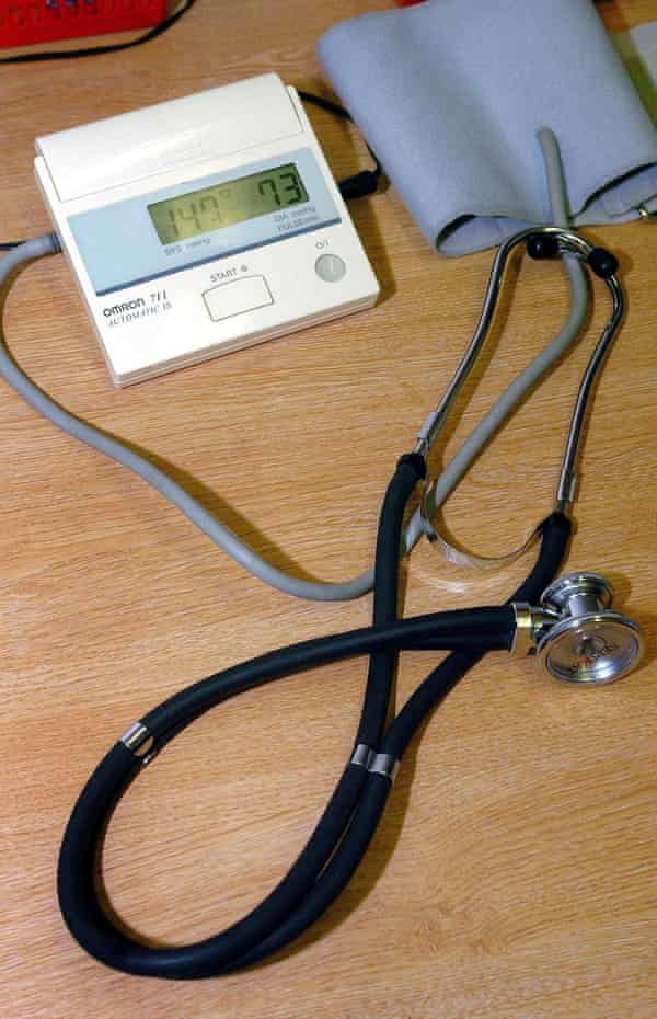 A GP's stethoscope and a sphygmomanometer blood pressure measuring device