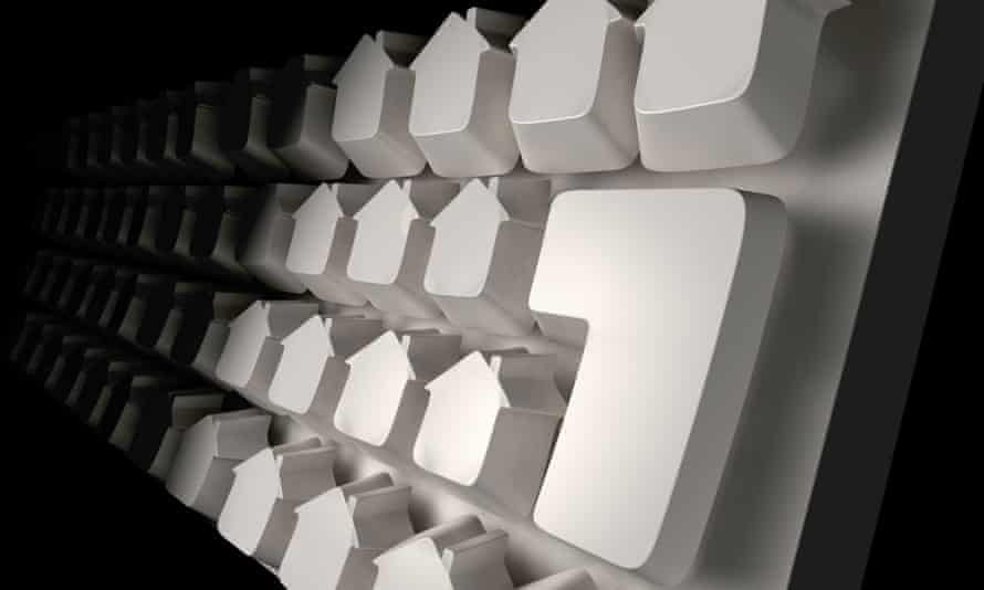 Computer keyboard with house-shaped keys.