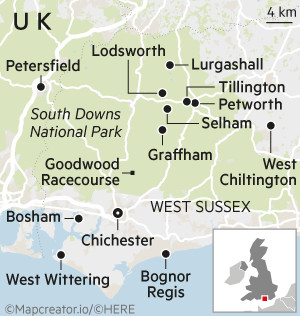 Map of West Sussex, England