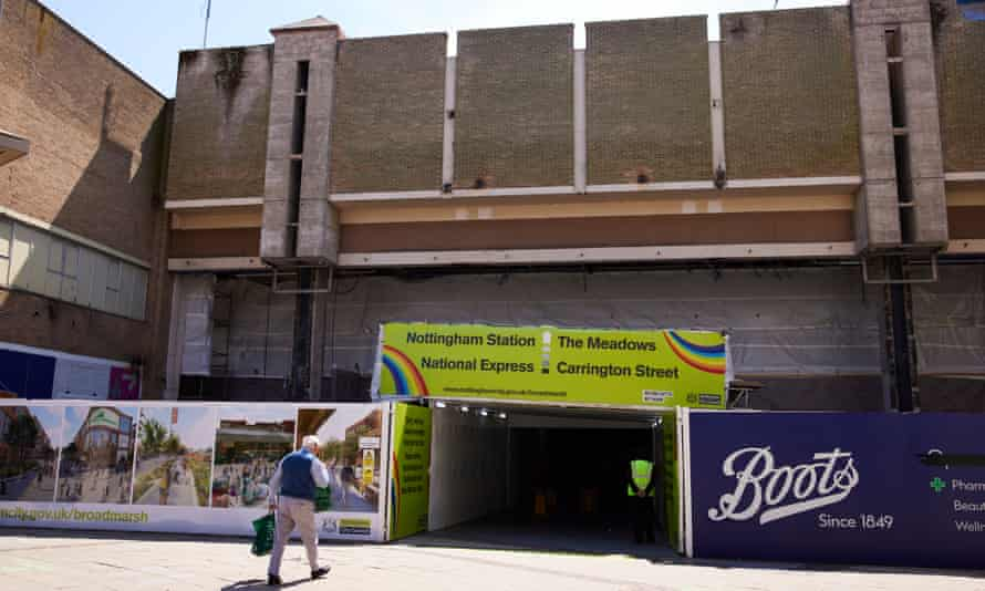 A pedestrian tunnel through the part demolished Broadmarsh shopping centre.