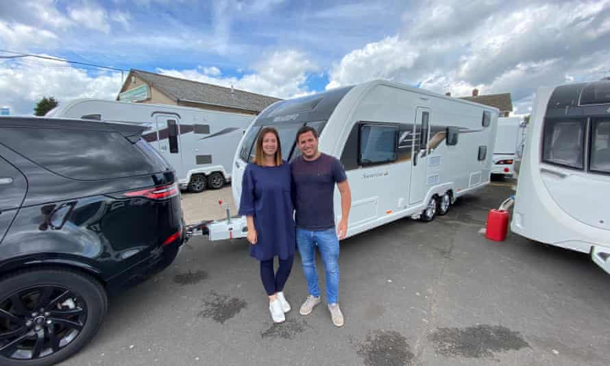 Gareth and Gemma Thomas with their new caravan