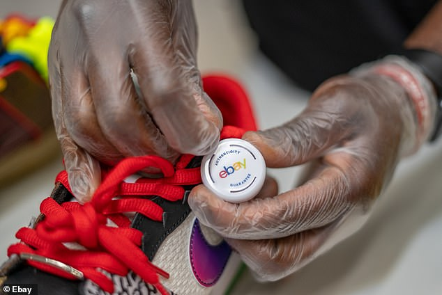A tag is given to the shoes that have passed the checks to show they are the genuine article