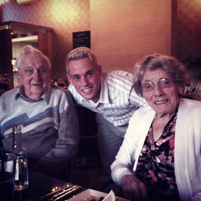 Ethan Spibey with his grandparents