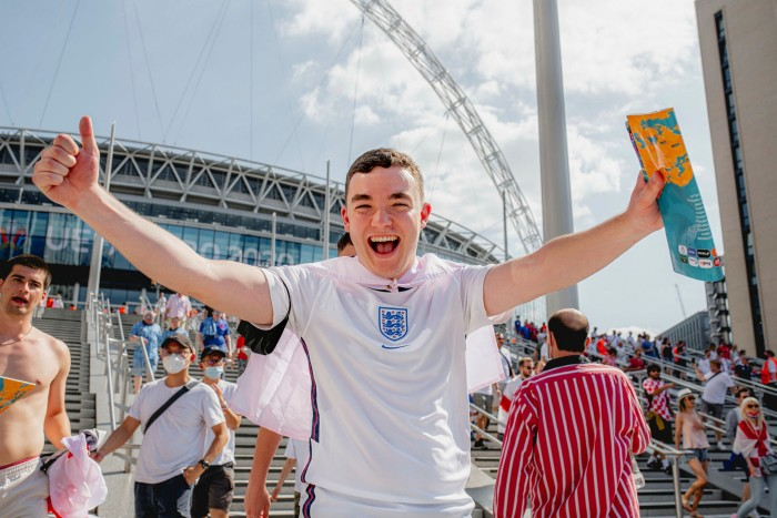 An ecstatic fan at Wembley for the England vs Croatia Euro 2020 match. Photographed for the FT by Max Miechowski