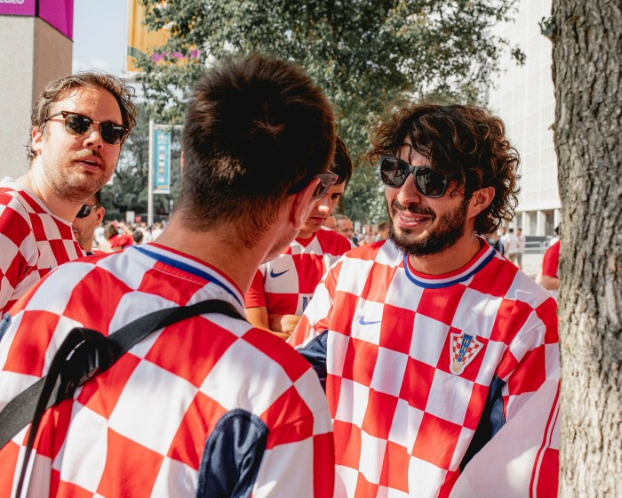 Croatia fans hanging out at Wembley for the England vs Croatia Euro 2020 match. Photographed for the FT by Max Miechowski