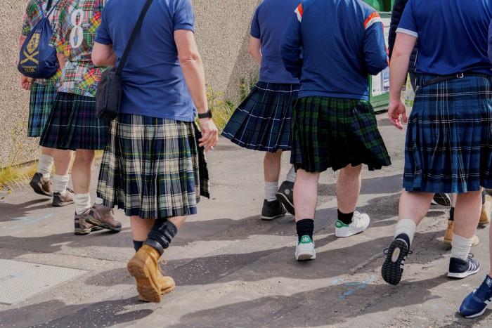 Scotland fans at Hampden Park stadium in Glasgow for the Scotland vs Czech Republic match. Photographed for the FT by Gregor Schmatz