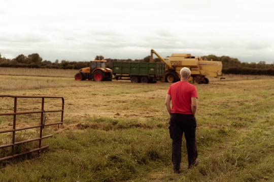 Biodynamic farmer Trevor Harris on his farm (Waterford Distillery)