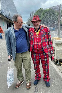 Gideon Rachman at Hampden Park with a tartan-tailored fan