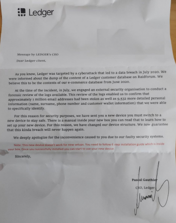 Ledger scam letter sent to the user explaining the reason for the replacement