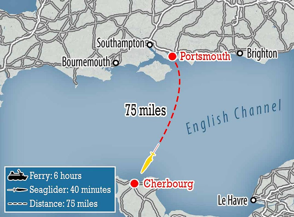 The fleet of seagliders would cut the journey time from Portsmouth to Cherbourg from around six hours to just 40 minutes