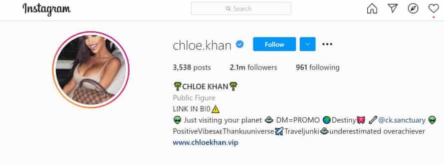 Chloe Khan's Instagram profile.