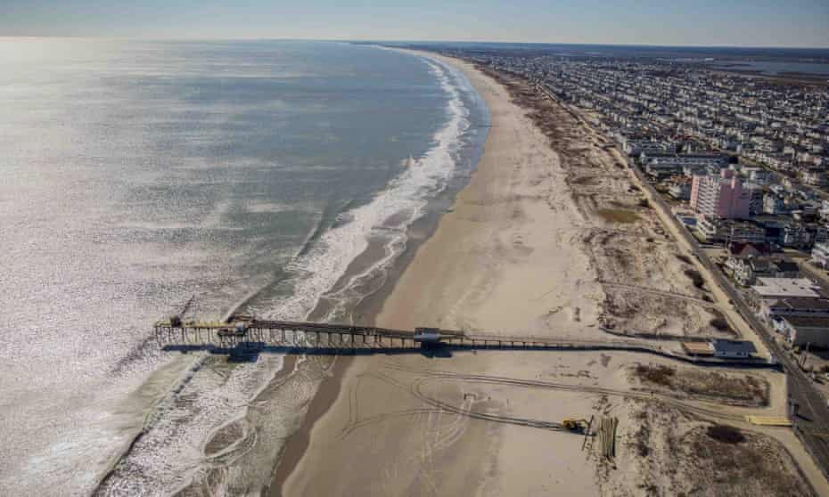 The beach coastline of Ocean City, New Jersey. A large offshore wind energy project planned off the coast of New Jersey would run cables from the wind farm to potential locations including Ocean City.
