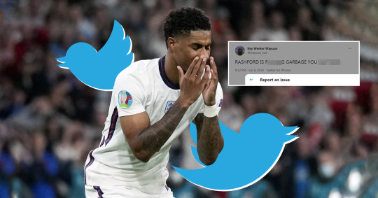 Twitter has not removed racist abuse targeting England stars despite the content having been reported to the channel (Picture: EPA, file images)