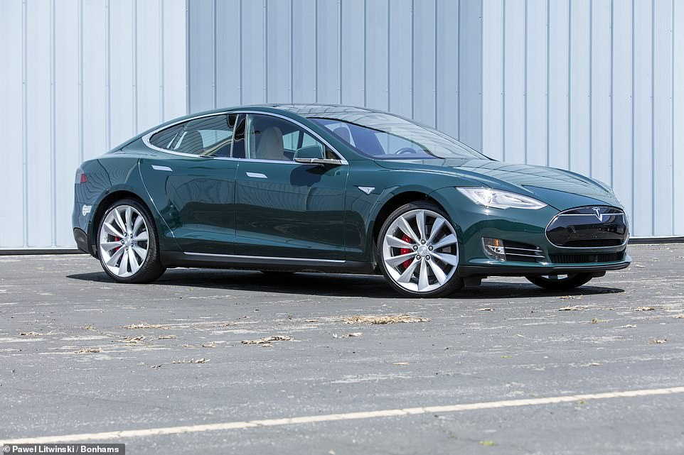 The final model in the Tom Hanks collection being offered by Bonhams next month is this2015 Tesla Model S P85D