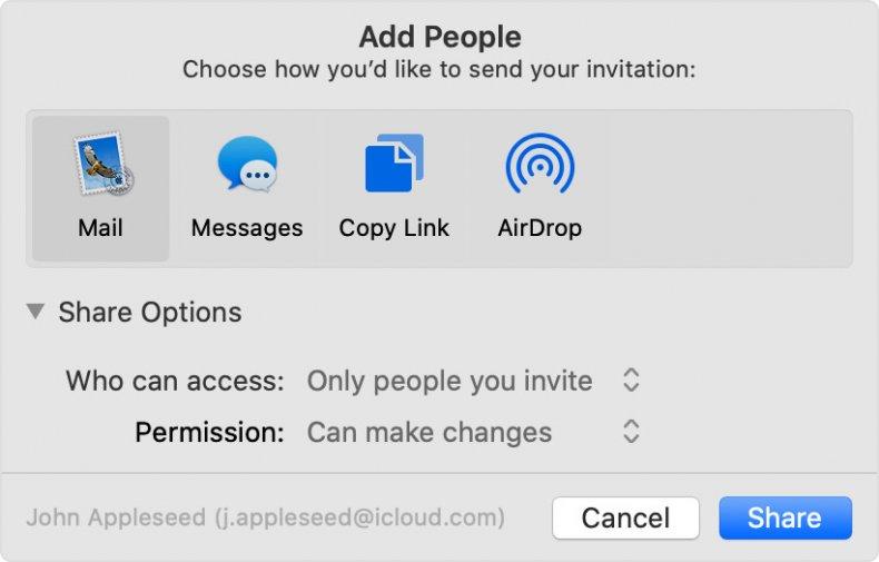 Create and share iCloud folders on Apple