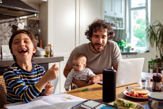Family using a Smart Speaker
