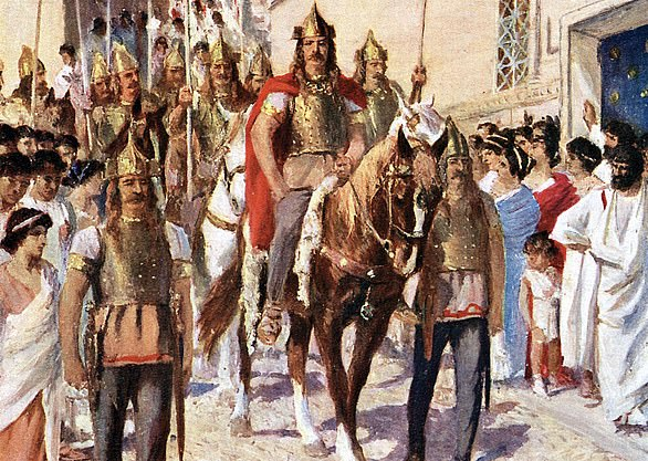 A painting of Visigoth king Alaric I entering Athens