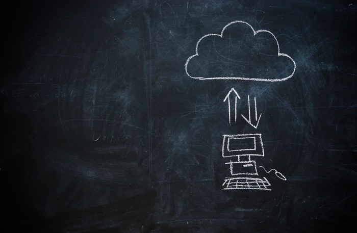 A chalkboard drawing of computers sending data to the cloud.