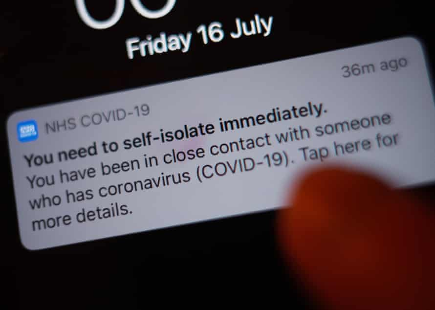 a notification issued by the NHS coronavirus contact tracing app .