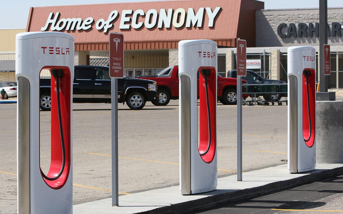 A charging station for Tesla vehicles is set up on the north end of the Buffalo Mall parking lot near the Home of Economy store in Jamestown. John M. Steiner / The Sun