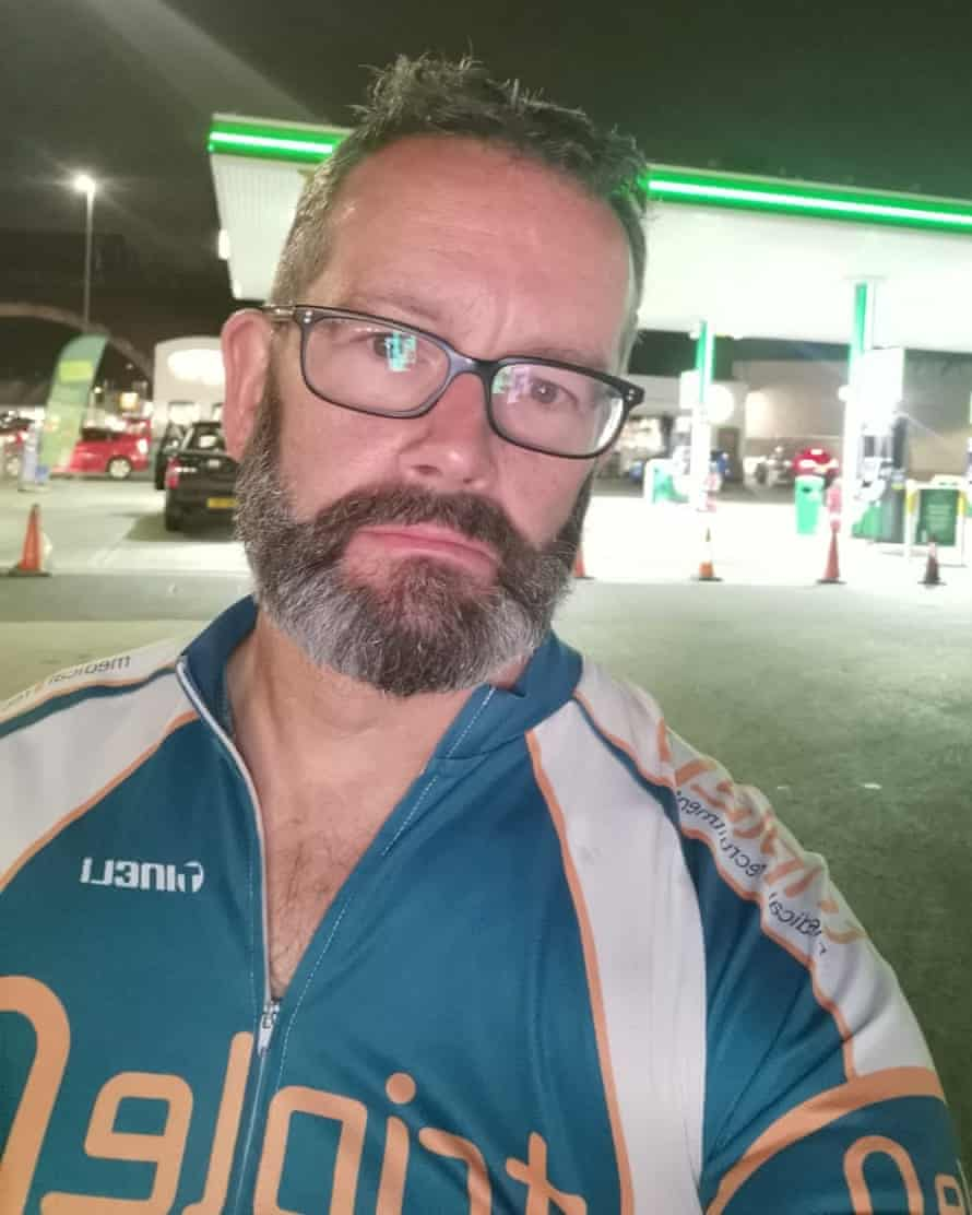 Dr Sean Nolan outside a petrol station unable to get any fuel.