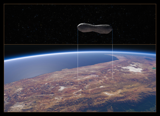 A 3D image showing the Kleopatra asteroid over Chile (Credits: ESO/M. Kornmesser/Marchis et al.)