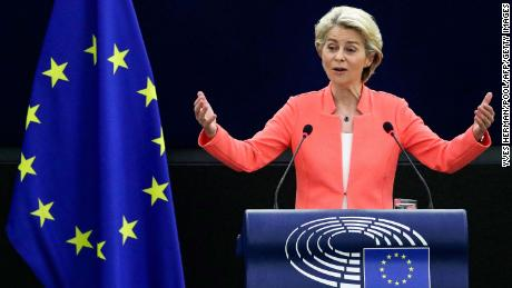 European Commission President Ursula von der Leyen delivers a speech during her State of the Union address on Wednesday in Strasbourg, France.