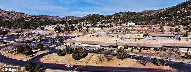 Researchers found that monoclonal antibody treatments worked well for patients at Whiteriver Service Unit, a healthcare facility on the Fort Apache Indian Reservation in Arizona. Pictured: Whiteriver Indian Hospital, part of the facility