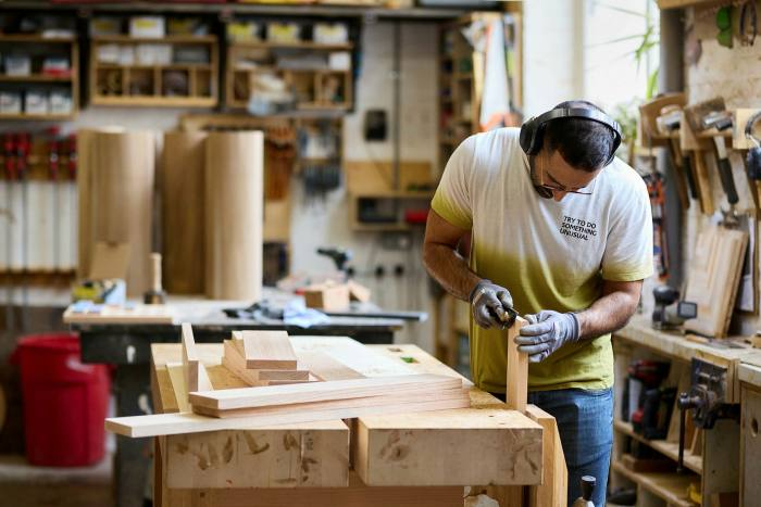 A carpenter in his workshop