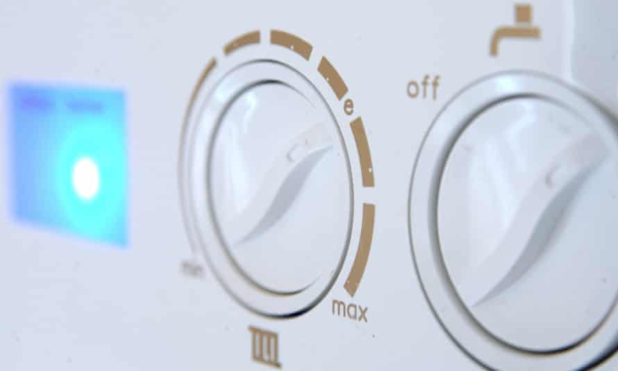 Controls on a domestic gas boiler.
