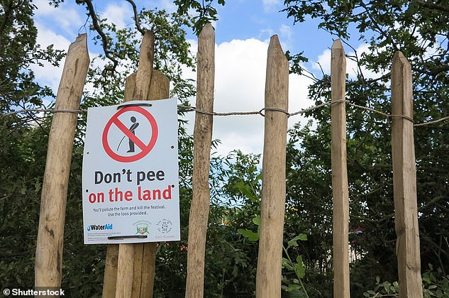 Pictured, a sign at Glastonbury Festival 2019, advising attendees not to urinate on the ground