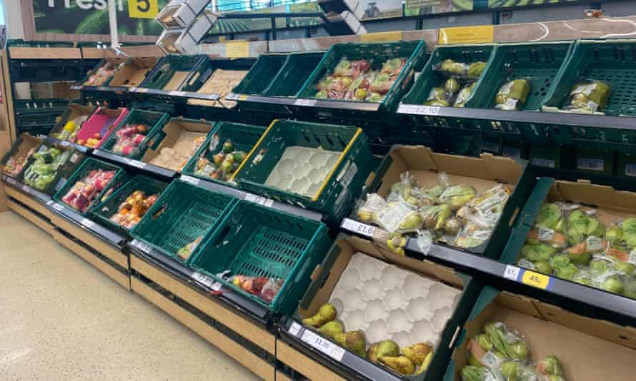 Sparse fruit supplies at a Tesco store in Swansea, south Wales.