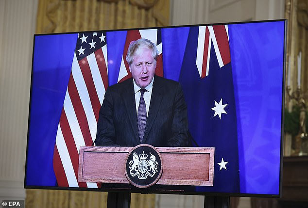 Prime Minister Boris Johnson linked up with with US President Joe Biden and Australian Prime Minister Scott Morrison for a virtual press conference to announce the AUKUS agreement