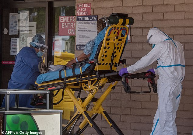 Monoclonal antibodies may be an effective treatment for reducing COVID-19's severity in high-risk, Native American patients, a new study shows. Pictured: A patient is taken from the ambulance to the emergency room in Navajo Nation, Arizona, May 2020