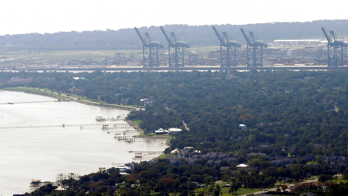 This Sept. 1, 2017, file photo shows cranes at the Port of Houston in Houston. A major U.S. port was the target last month of suspected nation-state hackers. The Port of Houston, a critical piece of infrastructure along the Gulf Coast, issued a statement Thursday that it had successfully defended against an attempted hack in August and that no operational data or systems were impacted.