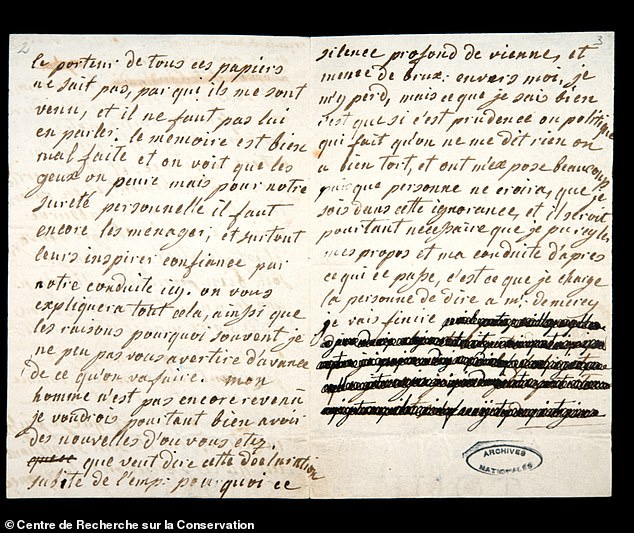 The team found evidence that the count himself redacted parts of the letters, many of which appear to have been copies rather than originals. Pictured: a photograph of the second, partly-censored page of a letter from Marie Antoinette to Count von Fersen dated January 4, 1792