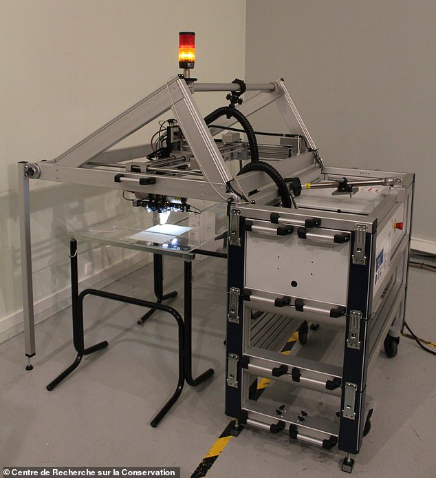 The researchers used microscanning x-ray fluorescence spectroscopy to analyse the redacted sections of 15 of the historical letters. Pictured: the x-ray scanner