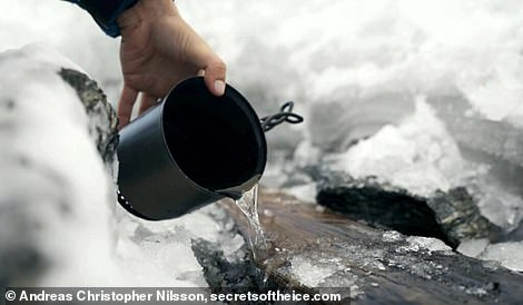 The team then used boiling water to free the ski from the ice